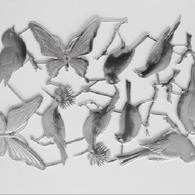 Silver Deco Paper Bird&Butterfly
