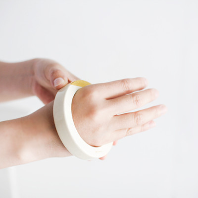 Wooden Bracelet with Gold – M