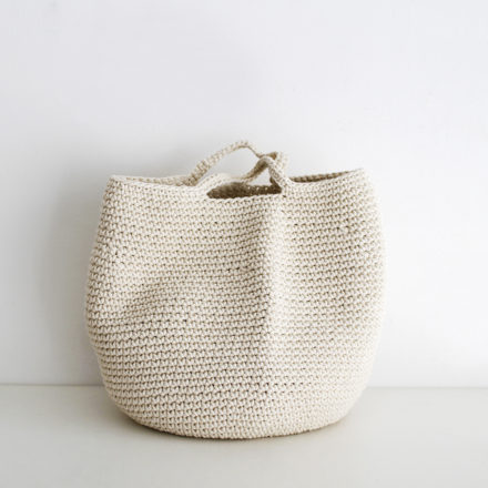 Crocheted Cotton Storage Basket - cream