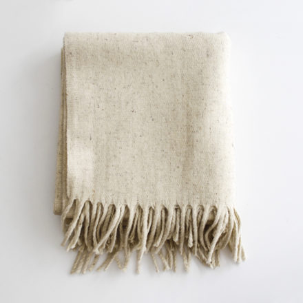 Modern Mexican Wool Blanket - solid ivory