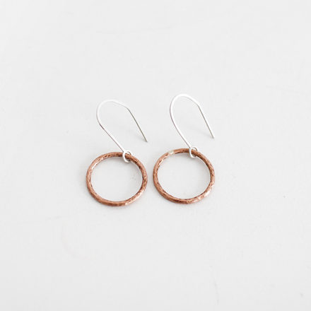 Textured Copper Circle Earrings