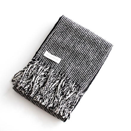Tweed Emphasize Wide Scarf<br>- Monochrome II - Purled Fringe