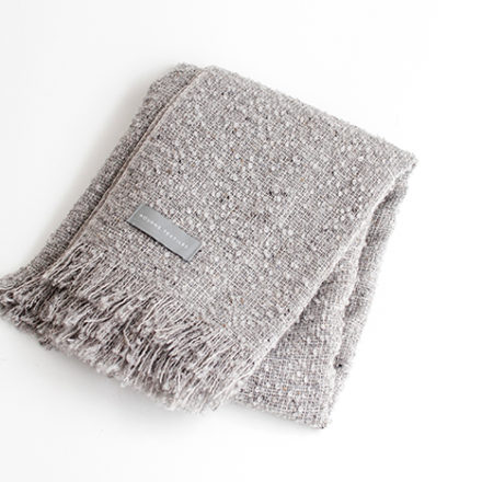 Mohair Loop Wide Scarf<br>- Stone Grey - Natural fringe