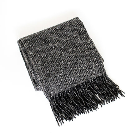 Tweed Emphasize Wide Scarf<br>- Pebble Grey - Natural Fringe