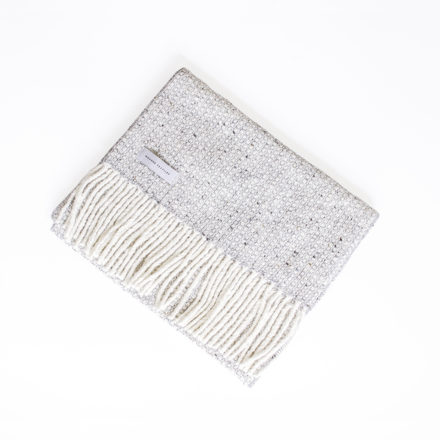 Tweed Emphasize Narrow Scarf - Silver Grey-Purled Fringe