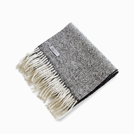 Tweed Emphasize Narrow Scarf - Monochrome I-Purled Fringe