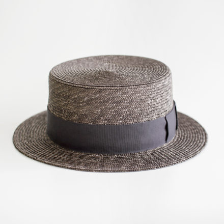Morny Grey Straw - Ribbon Dark Grey