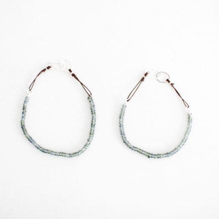 Blue/Grey Saphire Bracelet brown cord