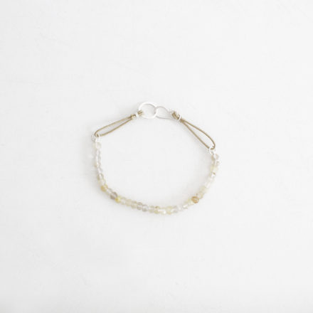 Yellow Rutilated Quartz Bracelet beige cord