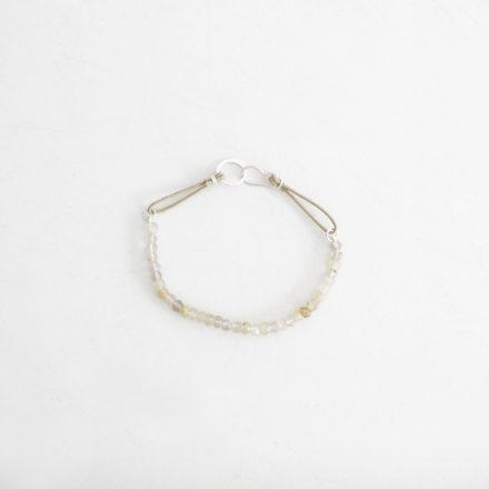 Yellow Rutilated Quartz Bracelet beige cord