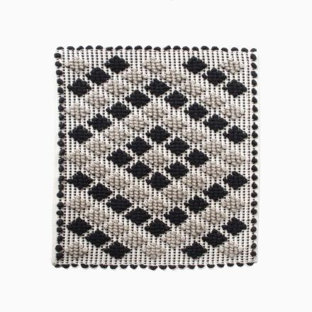 [受注生産] SEAT COVER<br>- COPRISEDIA ROMBETTI 35 x 35cm<br>- BLACK/CORD LINEN/CREAM(2枚セット)