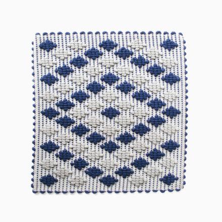 [受注生産] SEAT COVER<br>- COPRISEDIA ROMBETTI 35 x 35cm<br>- GREY/BLUE/GREY(2枚セット)