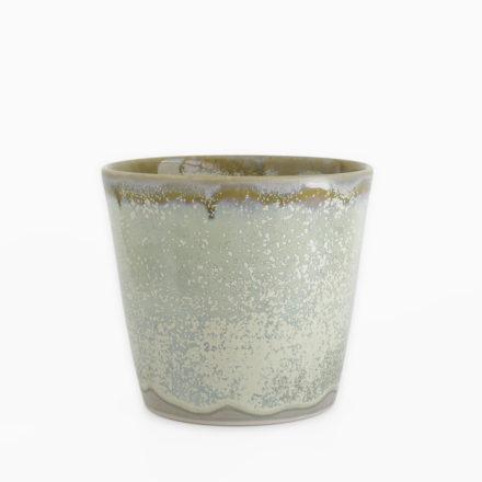 Stoneware Flower Vase φ15 x h13cm - double glazed grey-green