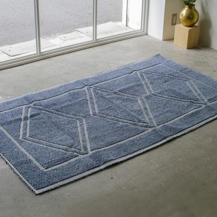 [受注生産] RUG - TAPPETO<br>TRE ROMBI 190 x 110cm - MELANGE BLUE/CREAM